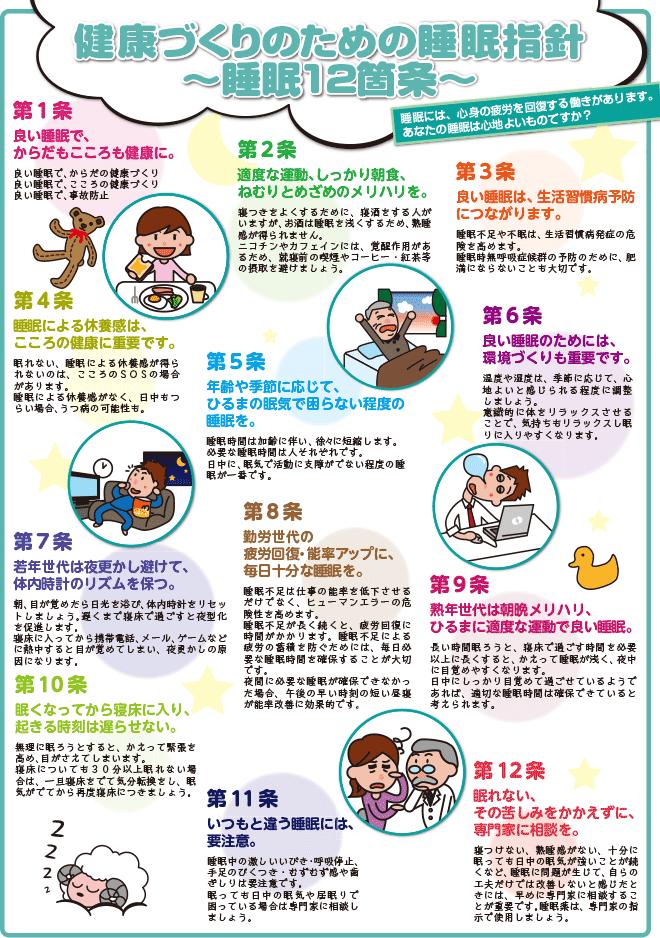 健康づくりのための睡眠指針 ~睡眠12箇条~