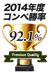 2014年度コンペ勝率 92.1%